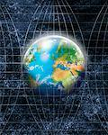 Globe on Grid Lines    Stock Photo - Premium Rights-Managed, Artist: Nora Good, Code: 700-00909481