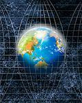 Globe on Grid Lines    Stock Photo - Premium Rights-Managed, Artist: Nora Good, Code: 700-00909482
