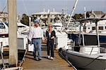 Couple Walking at Marina    Stock Photo - Premium Rights-Managed, Artist: George Simhoni, Code: 700-00910022