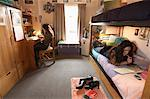College Students in Dorm Room    Stock Photo - Premium Rights-Managed, Artist: Gail Mooney, Code: 700-00910443
