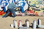 Man Spraying Graffiti on Wall    Stock Photo - Premium Rights-Managed, Artist: Masterfile, Code: 700-00910713