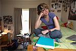 Student Working in Dorm    Stock Photo - Premium Rights-Managed, Artist: Gail Mooney, Code: 700-00910977