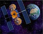 Communication Satellite Above Earth Stock Photo - Premium Royalty-Free, Artist: Rick Fischer, Code: 600-00911131