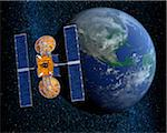 Communication Satellite Above Earth Stock Photo - Premium Royalty-Free, Artist: Rick Fischer, Code: 600-00911132