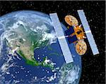 Communication Satellite Above Earth Stock Photo - Premium Royalty-Free, Artist: Rick Fischer, Code: 600-00911137