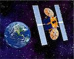 Communication Satellite Above Earth Stock Photo - Premium Royalty-Free, Artist: Rick Fischer, Code: 600-00911138