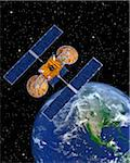 Communication Satellite Above Earth Stock Photo - Premium Royalty-Free, Artist: Rick Fischer, Code: 600-00911139