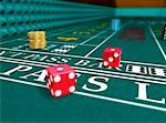 Dice on Craps Table    Stock Photo - Premium Rights-Managed, Artist: Rick Fischer, Code: 700-00911123