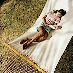 Woman Reading on Hammock    Stock Photo - Premium Rights-Managed, Artist: TSUYOI, Code: 700-00916902