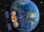 Satellite Orbiting Earth    Stock Photo - Premium Royalty-Free, Artist: Rick Fischer, Code: 600-00917987