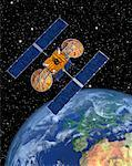 Satellite Orbiting Earth    Stock Photo - Premium Royalty-Free, Artist: Rick Fischer, Code: 600-00917988