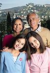 Grandparents With Their Granddaughters Outdoors    Stock Photo - Premium Rights-Managed, Artist: Masterfile, Code: 700-00918103