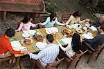 Family Saying Grace Before Dinner Outdoors    Stock Photo - Premium Rights-Managed, Artist: Masterfile, Code: 700-00918129