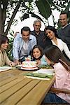 Family At Girl's Birthday Party Outdoors