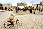 Pedestrians and Cyclist around City Square, Pariser Platz, Berlin, Germany    Stock Photo - Premium Rights-Managed, Artist: Damir Frkovic, Code: 700-00934146