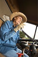 female truck driver - Woman using CB radio/ Stock Photo - Premium Royalty-Freenull, Code: 604-00939032