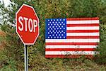 American flag and stop sign Stock Photo - Premium Royalty-Free, Artist: UpperCut Images, Code: 604-00941401