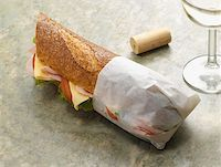sandwich wrapper - Baguette and wine Stock Photo - Premium Royalty-Freenull, Code: 614-00944627