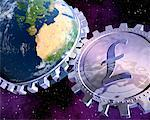 Globe With Gears And Pound Sign    Stock Photo - Premium Royalty-Free, Artist: Rick Fischer, Code: 600-00947832