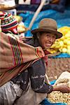 Mother and Baby Shopping at Market, Pisac, Peru