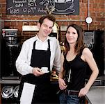 Man and Woman in Cafe    Stock Photo - Premium Rights-Managed, Artist: Edward Pond, Code: 700-00948829