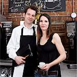 Man and Woman in Cafe    Stock Photo - Premium Rights-Managed, Artist: Edward Pond, Code: 700-00948830
