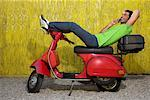 Portrait of Man on Moped    Stock Photo - Premium Rights-Managed, Artist: Siephoto, Code: 700-00954856
