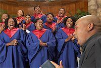 Gospel Choir and Minister    Stock Photo - Premium Royalty-Freenull, Code: 600-00984049