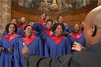 Gospel Choir and Minister    Stock Photo - Premium Royalty-Freenull, Code: 600-00984059