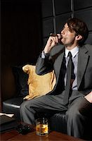 Man with Cigar and Liquor    Stock Photo - Premium Royalty-Freenull, Code: 600-00984350