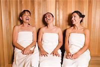 Women in sauna laughing/ Stock Photo - Premium Royalty-Freenull, Code: 604-01002002