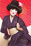 Geisha in Traditional Kimono Holding Parasol Stock Photo - Premium Royalty-Free, Artist: Robert Harding Images    , Code: 621-01012932
