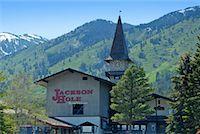 Jackson Hole Clock Tower, Teton Village, Jackson Hole, Wyoming, USA    Stock Photo - Premium Rights-Managednull, Code: 700-01014659