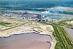 Suncor Oil Sands Plant, Tailing Pond in Foreground, Alberta, Canada