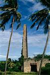 Low angle view of a tall smoke stack and a satellite dish, Barbados, Caribbean