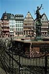 Fountain in front of buildings, Romerbeg Square, Frankfurt, Germany Stock Photo - Premium Royalty-Free, Artist: sergey_peterman               , Code: 625-01040730