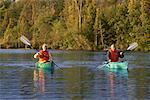 Couple Kayaking    Stock Photo - Premium Rights-Managed, Artist: Graham French, Code: 700-01042151