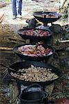 Food Cooking at Outdoor Funeral Ceremony, Yuanyang, Yunnan, China