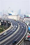 Overview of Highway and City, Shanghai, China    Stock Photo - Premium Rights-Managed, Artist: F. Lukasseck, Code: 700-01043750