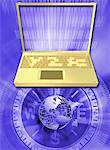 Laptop with compass and globe (Digitally Generated) Stock Photo - Premium Royalty-Free, Artist: Bill Frymire, Code: 618-01055791