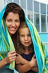 Mother and Daugther by Swimming Pool    Stock Photo - Premium Rights-Managed, Artist: Masterfile, Code: 700-01072153