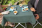 Couple Having Dinner Outdoors    Stock Photo - Premium Rights-Managed, Artist: Masterfile, Code: 700-01073591