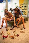 Teenaged Girls Shopping For Shoes    Stock Photo - Premium Rights-Managed, Artist: Raoul Minsart, Code: 700-01083995