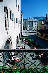 High angle view of a sidewalk cafe, Hall, Austria Stock Photo - Premium Royalty-Free, Artist: Westend61                , Code: 625-01098599