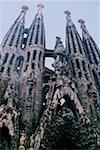 Low angle view of a cathedral, Gaudi Cathedral, Barcelona, Catalonia, Spain Stock Photo - Premium Royalty-Freenull, Code: 625-01098683
