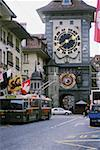 Low angle view of a clock tower in a city, Berne, Berne Canton, Switzerland Stock Photo - Premium Royalty-Freenull, Code: 625-01098706