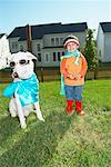 Boy and Dog in Costumes    Stock Photo - Premium Rights-Managed, Artist: Artiga Photo, Code: 700-01100005