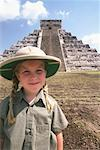 Portrait of Girl in Front of Ruins, Chichenitza, Mexico    Stock Photo - Premium Rights-Managed, Artist: Gary Rhijnsburger, Code: 700-01110330