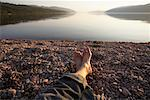 Man Relaxing, Scotland    Stock Photo - Premium Rights-Managed, Artist: Kevin Arnold, Code: 700-01111797