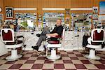 Portrait of Barber in Barber Shop    Stock Photo - Premium Rights-Managed, Artist: Patrick Fordham, Code: 700-01120131